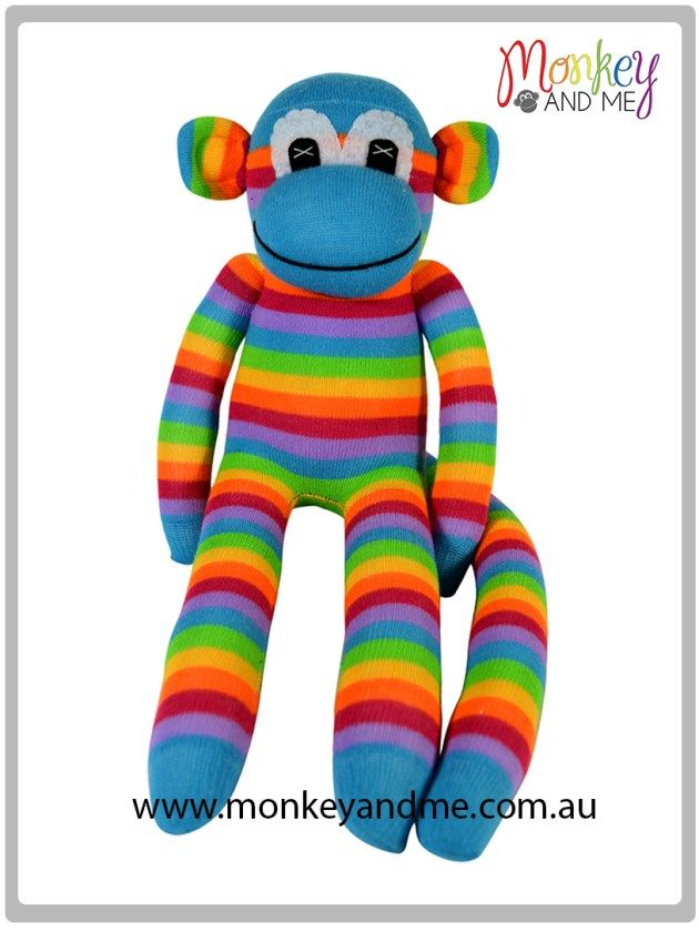 Aqua Pink Rainbow thin sock monkey