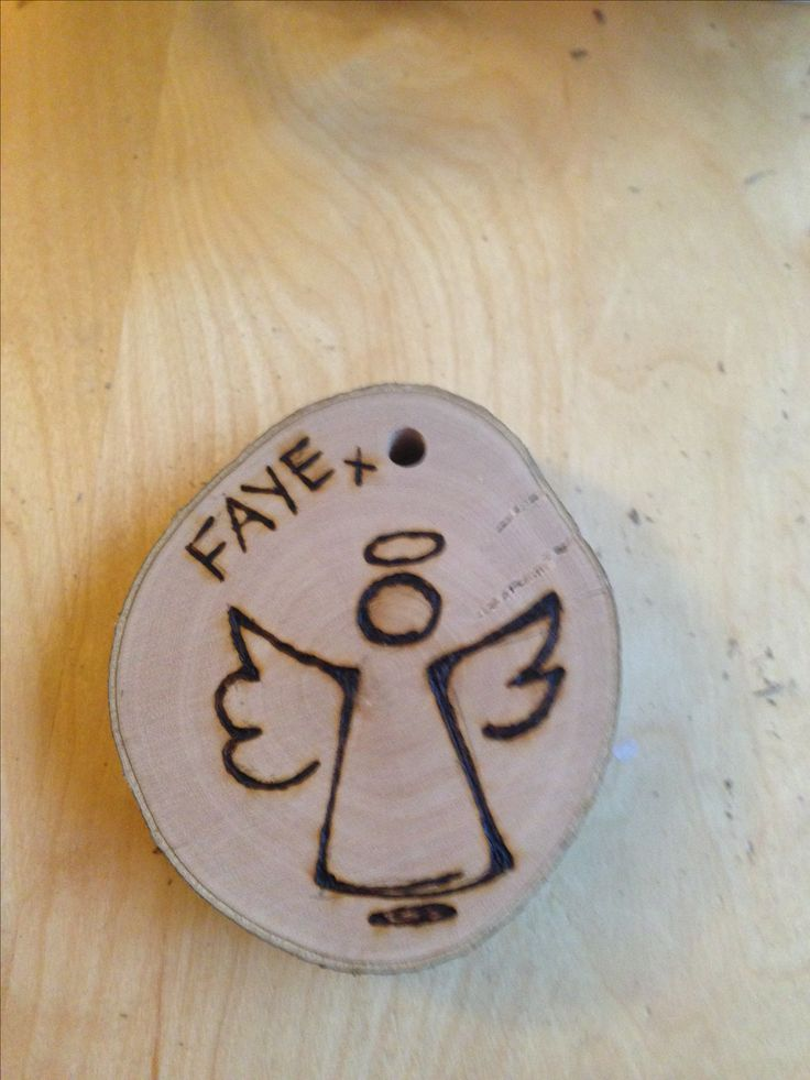 Wood slice Christmas decoration - angel