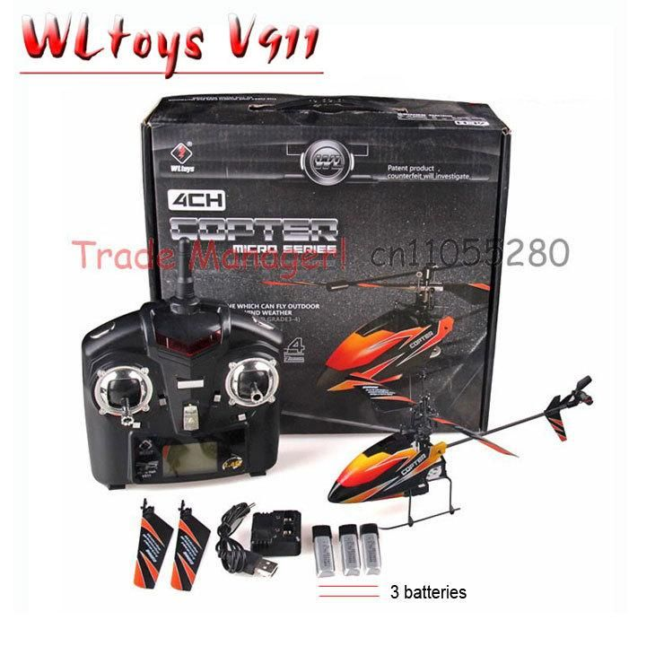 Free shipping WL rc helicopter V911 (red blue and orange) 2.4g 4ch outdoor rc toys Hot Air Model Toys Remotely piloted vehicles
