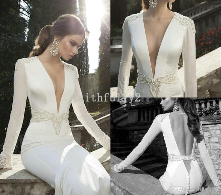 Vintage Deep V Neck Berta Winter 2014 Wedding Dresses Long Sleeve Beaded Sheath Cloak Illusion Sheer V Backless Wedding Dresses Button Wholesale Bridal Gowns Beautiful Dresses From Faithfully2, $ 132.19 | i dhgate.co