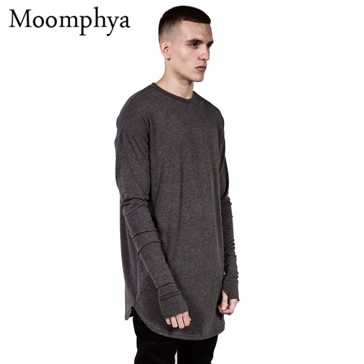 Find More T-Shirts Information about Long style Mens Tops T Shirt full Sleeve T Shirt With Thumb Hole Cuffs T Shirt  High Street Wear Shirt Curved Hem swag t shirt,High Quality T-Shirts from Moomphya Apparel Flagship Store on Aliexpress.com