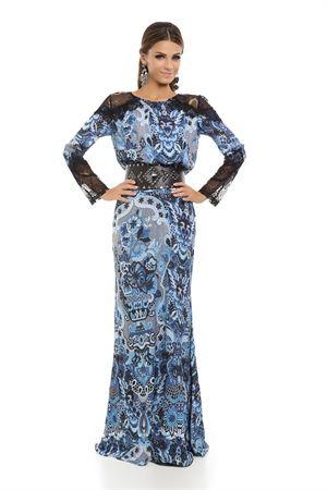 Vestido Longo Renda Ombro Estampa Bordado Renda Azul - roupas-vestidos-iorane-f-vestido-longo-renda-ombro-estampa-bordado-renda-azul Iorane