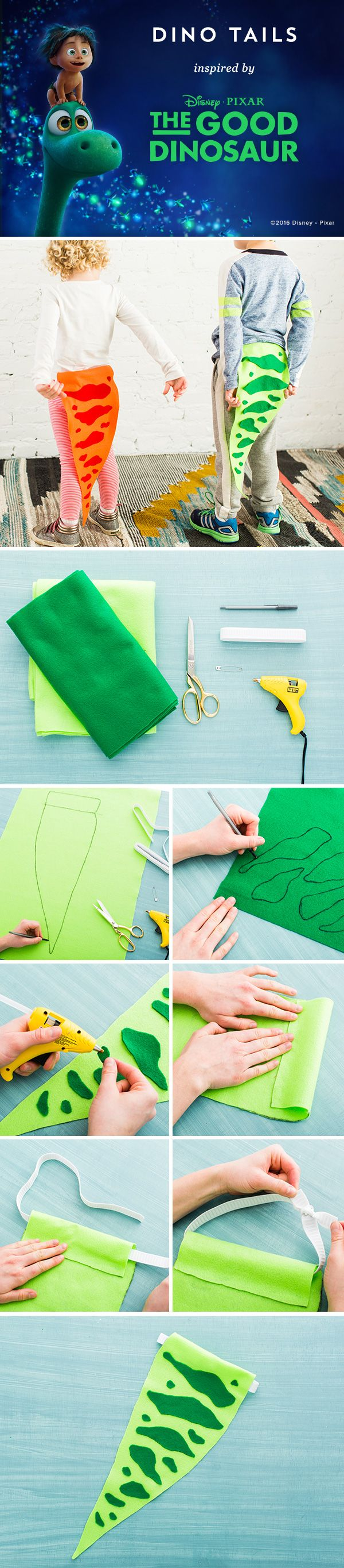 "Swing around in these colorful Dino Tails and celebrate Disney/Pixar's The Good Dinosaur! Draw the shape of a dinosaur tail on light green felt leaving 2"" at the top and cut out 2. Draw nebulous shapes on the dark green felt and cut out 3. Adhere them to the tail with hot glue 4. Fold top edge over and glue in place 5. Cut elastic strap, add a safety pin to the end, and pull through top of tail 6. Remove safety pin and tie elastic edges together"