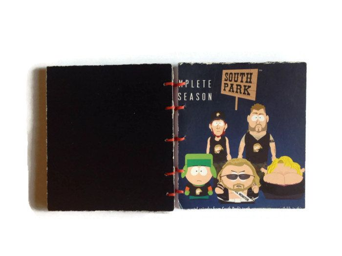 South Park mini coptic journal hand bound in RED reworked DVD box from season 10-196 plain white pages Stan Kyle Cartman Kenny fan - pinned by pin4etsy.com