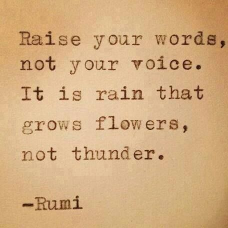 Raise your words, not your voice. | Rumi