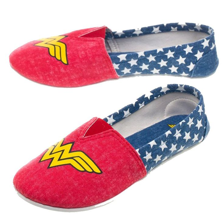Be ready to save the world at any given moment with these officially licensed slip-on shoes! These shoes are in the design of your favorite superhero, Wonder Woman, and feature a non-slip bottom so yo