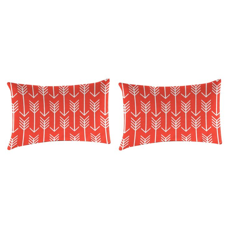 Outdoor Set Of 2 Rectangular Accessory Toss Pillows In Arrow Indian Coral - Jordan Manufacturing, Living Coral