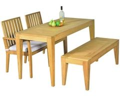 Elegance In-outdoors 3pc Teak Dining Bench Setting (Table + 2 Benches)