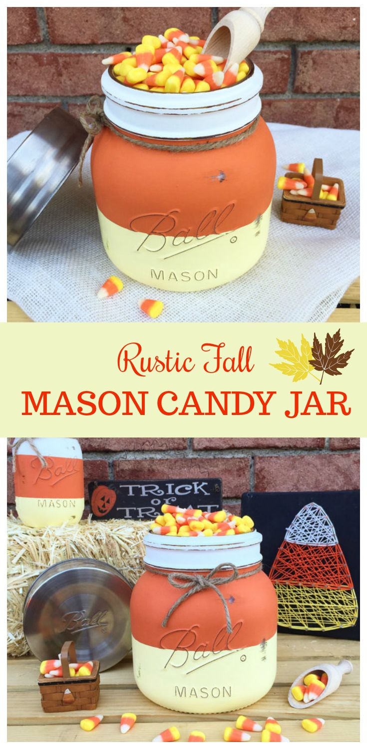 """One Half Gallon (64 oz) Super Wide Ball Mason Jar """"Candy Corn"""" Candy Bowl. Adorable Rustic Country Fall Style Home or Porch Decor. Hand painted."""