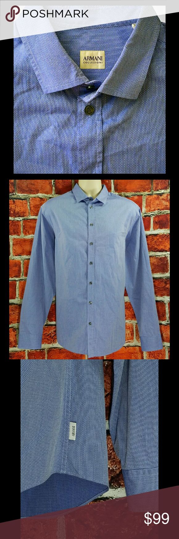 Armani Casual XL Mens Armani Collezioni Blue White Tic Button Down Casual Shirt Size: XL  About this item:  Excellent to Mint Condition Logo Tag On Side Name On All Buttons 100% Cotton  Size: XL Across Chest: 24 Length: 30 Sleeve: 26 Armani Collezioni Shirts Casual Button Down Shirts