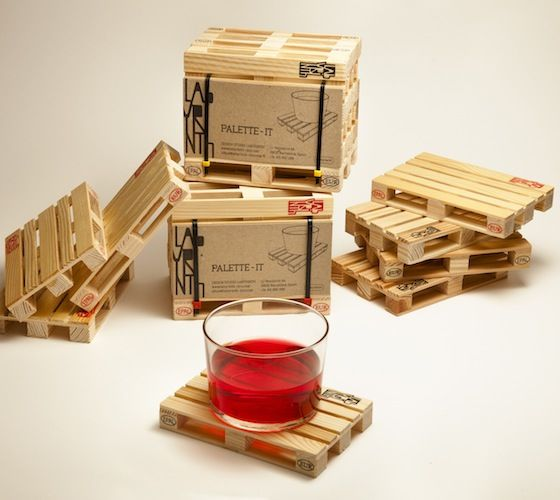 This set of four miniature Euro pallet coasters is suitable for all kinds of drinks; hot and cold.