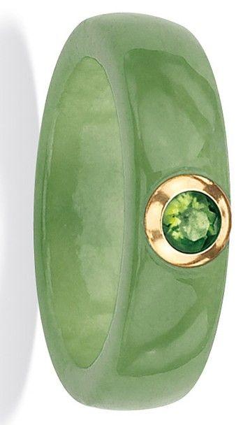 Angelina D'Andrea 10k Gold Green Jade and Peridot Ring