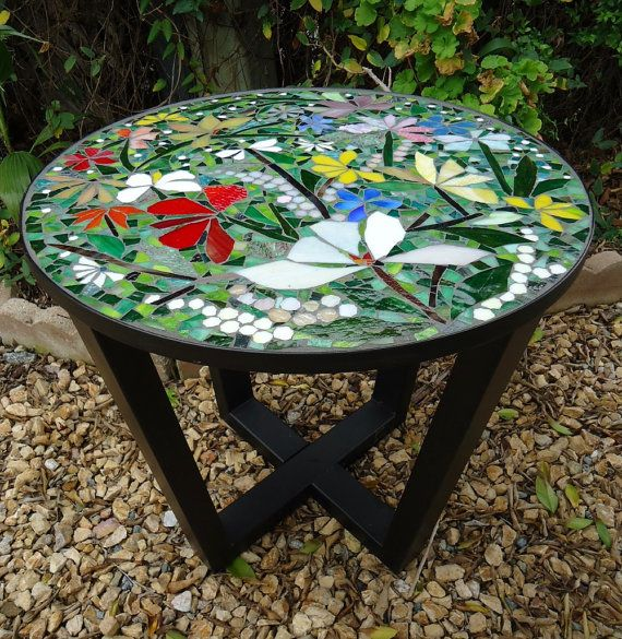 Superior MOSAIC TABLE + Iron BASE   Stained Glass Mosaic Art   Indoor Or Outdoor  Metal End Table Base