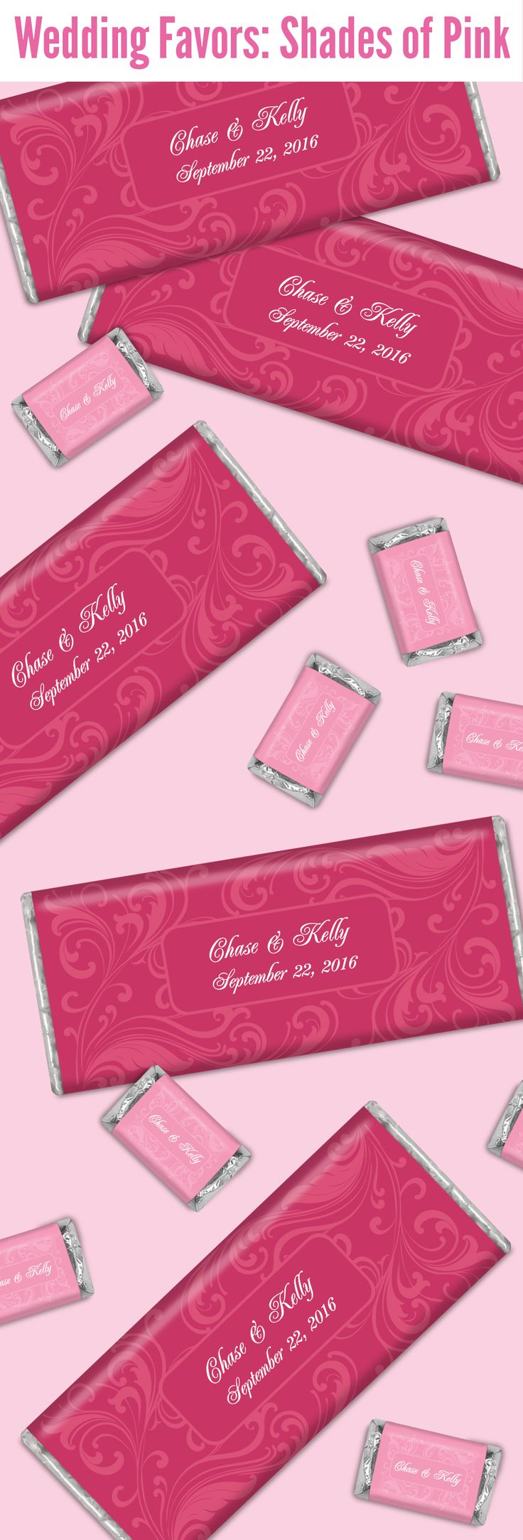 HERSHEYS Chocolate Wedding Favors In Various Shades Of Pink Will Be A Cute Addition To Your
