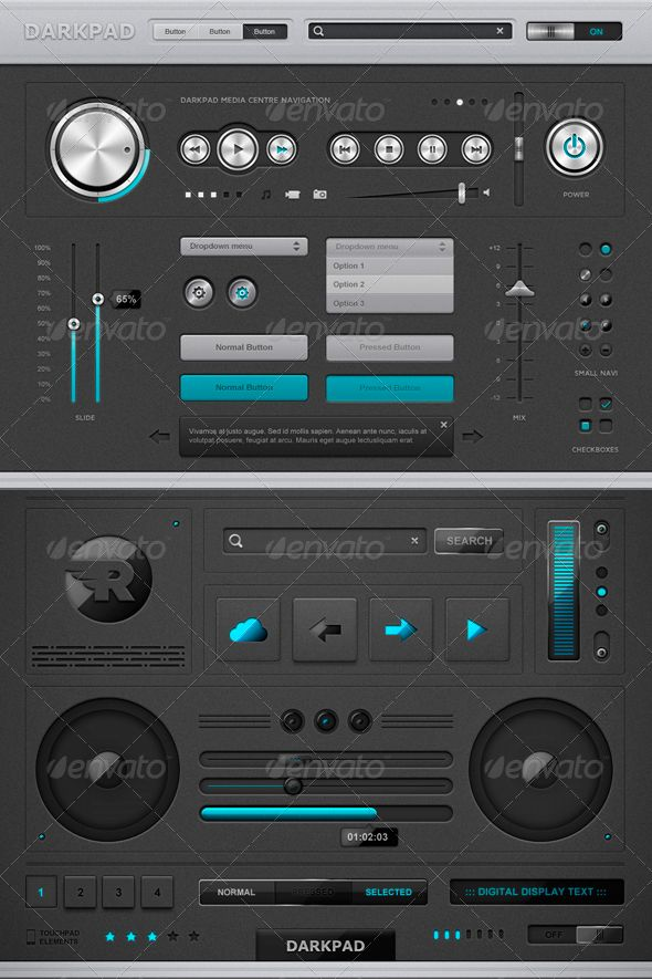 Darkpad touchpad elements, you can buy this GUI PSD on GraphicRiver for just $8