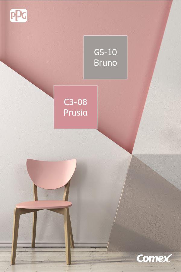 La combinación del rosa con el gris en paredes y muebles tipo vintage, da como…