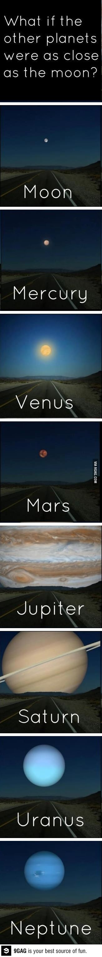 What if the other planets were as close as the moon? Neat!