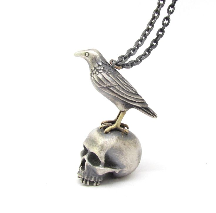 New 'RAVEN SKULL' necklace from Sirkel Jewellery. Sterling silver and yellow gold.