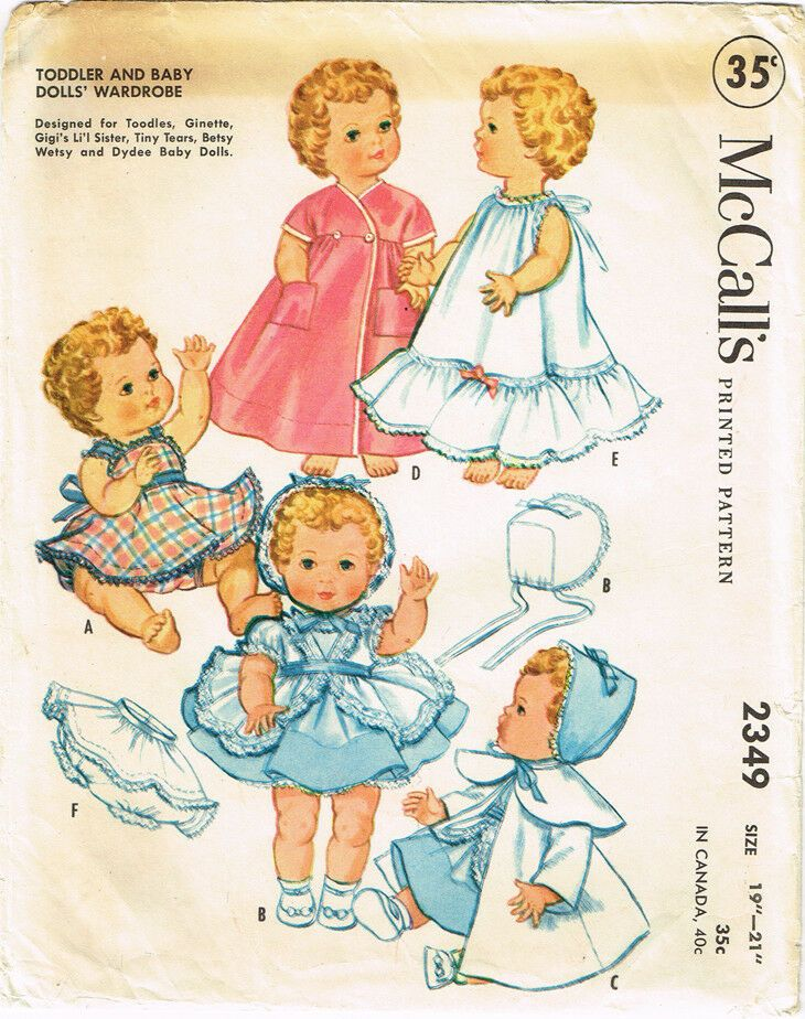 """Dy Dee Vintage 1950s Doll Clothes Pattern ~ 19/"""" 20/"""" 21/"""" Tiny Tears Betsy Wetsy"""