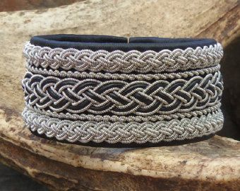 Wide Sami bracelet, black reindeer leather and pewter wire