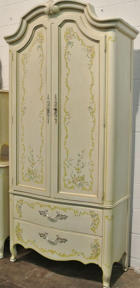 drexel bedroom set%0A Vintage Drexel Heritage   Pc Bedroom Set Painted Floral Detail