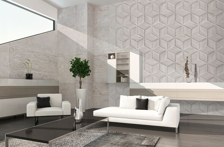Ambient with Ceramic reliefs inspired by the woods of northern countries. Ambientes con Relieves ceramicos inspirados en maderas propias de paises frios.