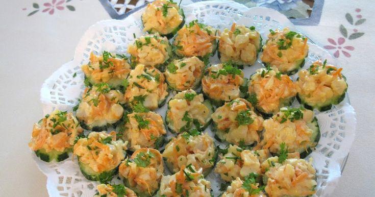 Ma cuisine...sans prétention: Canapés de crevettes sur concombre