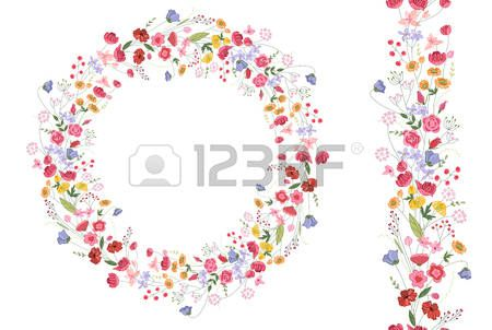 Detailed contour wreath with herbs and bright wild stylized flowers isolated on white Round frame fo Stock Vector