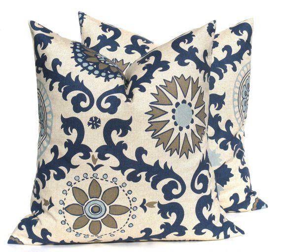 2 Cushion Cover RED 100/% natural beige cotton canvas decorative slip sofa throw