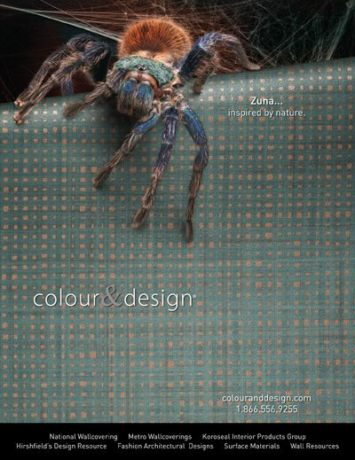 Colour Designs ZunaTM Wallcovering Advertisement For March 2012 Issue Of Interior Design Magazine