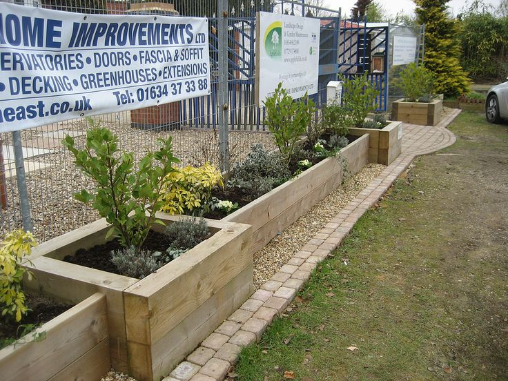 Raised Timber Plant Borders Made From Sleepers And Other