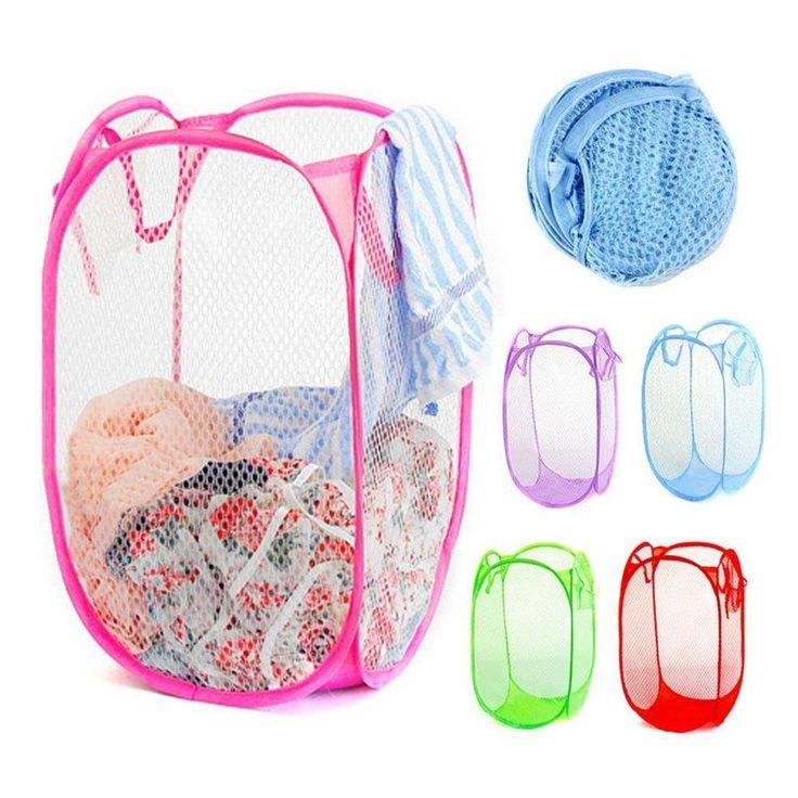 Pop UP Hamper Reinforce nylon mesh laundry basket Clothes Storage Bin Washing PML