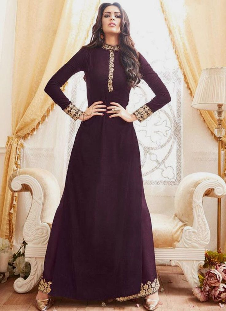 Buy latest salwar kameez designs and designer salwar suits online. Grab this georgette embroidered and resham work floor length designer suit.
