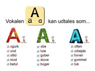 Her kan du øve dig i at udtale de danske vokaler. Alle vokalerne kan udtales på mere end en måde. Det vil du høre og se når du trykker på bogstaverne og ordene. Gå til næste bogstav ved at trykke i nederste højre hjørne.