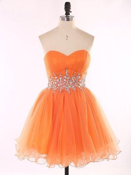 4a32d7a5b36 Girls Orange Sweetheart Organza Beading Short Mini Prom Dresses  105.99