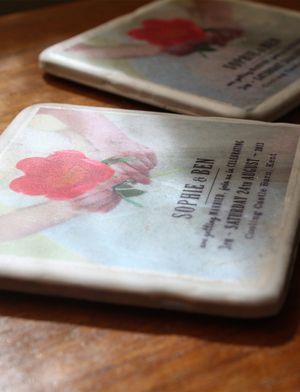 Bespoke ceramic tile invitations.