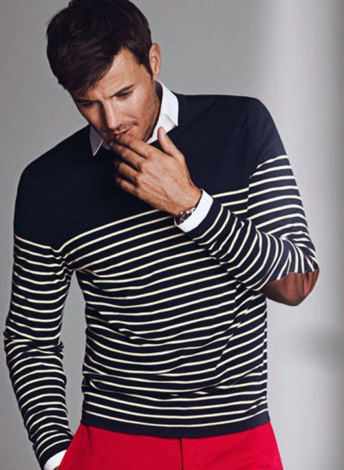 Nautical Sweater w/Elbow Patch