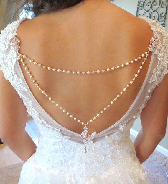 Bridal backdrop necklace Pearl Wedding necklace by treasures570