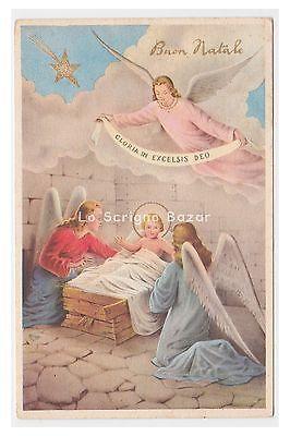 PMCE P355/1 cartolina Buon Natale1958 Gesù Bambino angeli gloria in excelsis deo