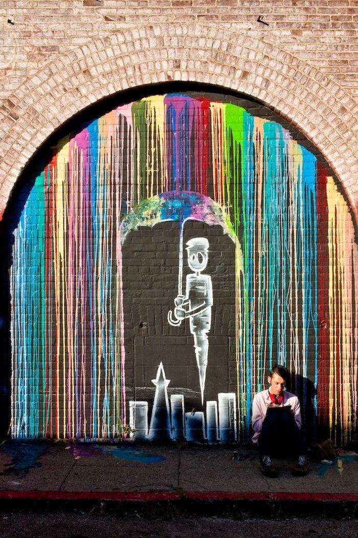 .Wall Art, Street Art Utopia, Rainbows Colors, Urban Art, Urbanart, Graffiti, Melted Crayons, Crayons Art, Streetart