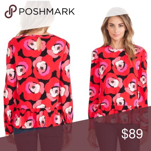 "NWOT Kate Spade Deco Rose Peplum Top Red NWOT red and pink floral pattern, long sleeves, Peplum silhouette. Keyhole button closure in the back. Beautiful top! Approximate measurements when laid flat: 19"" bust, 25"" length, 18"" Sleeve length. kate spade Tops"