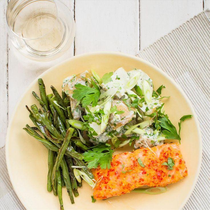 Lemon and Chilli Cured Salmon with Horseradish Potato Salad