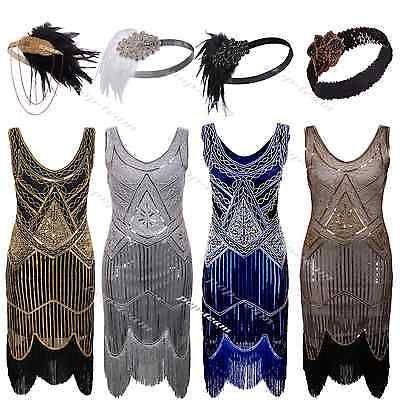 1920s Flapper Dress Gatsby Charleston Deco Beaded Sequin Fringed Party Costume  | eBay