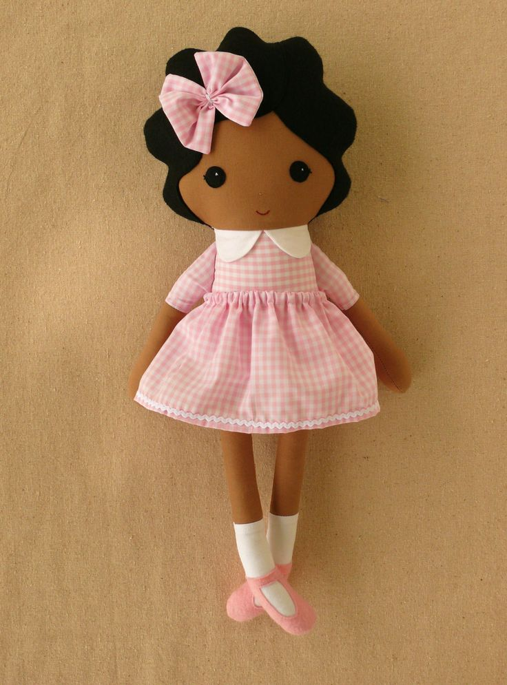 Fabric Doll Rag Doll Girl in Pink Gingham Dress.