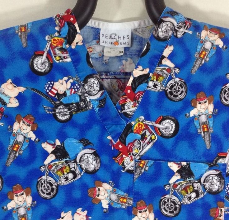 Biker Pigs Scrub Top XS Motorcycle Road Hog Easy Rider Blue Peaches Extra Small #Peaches