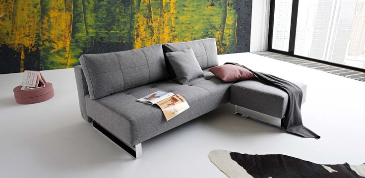 Divano letto e pouf Supermax, tessuto Twist Charcoal. Innovation.