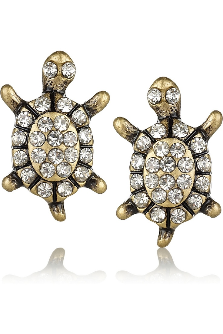 J.Crew | Brass and crystal turtle stud earrings | NET-A-PORTER.COM: Crystals Turtles, Turtle Earrings, J Crew Brass, Stud Earrings, Studs Earrings, Jcrew, Turtles Studs, Crew Turtles, Turtles Earrings