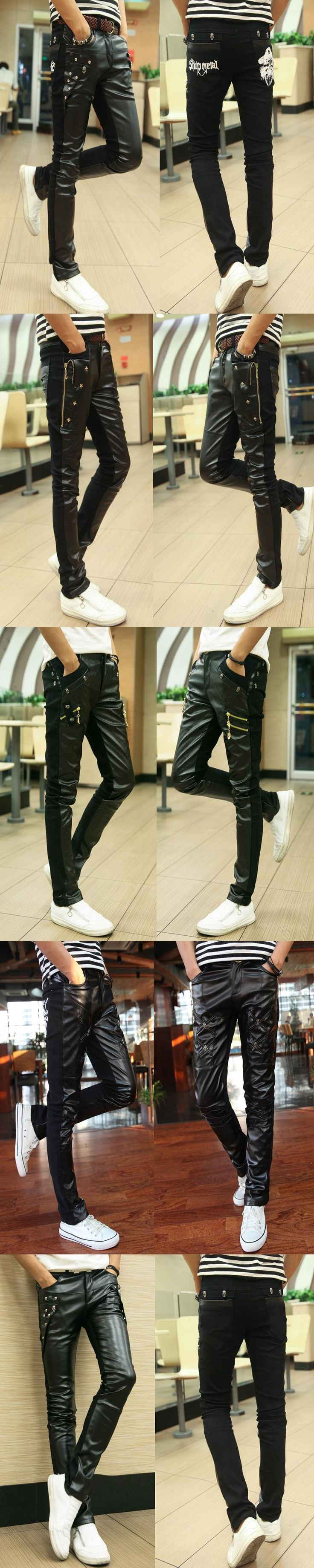 2017 Mens Warm Pants  Camouflage Fashion Men Leather Pants Locomotive Zipper Camo Hip Hop Pants Stitching Slim Fall