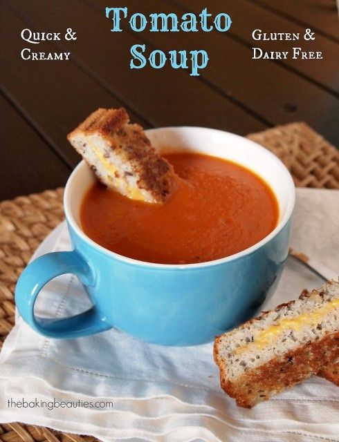 Creamy Gluten Free and Dairy Free Tomato Soup - Perfect for chilly evenings that are coming our way.   The Baking Beauties