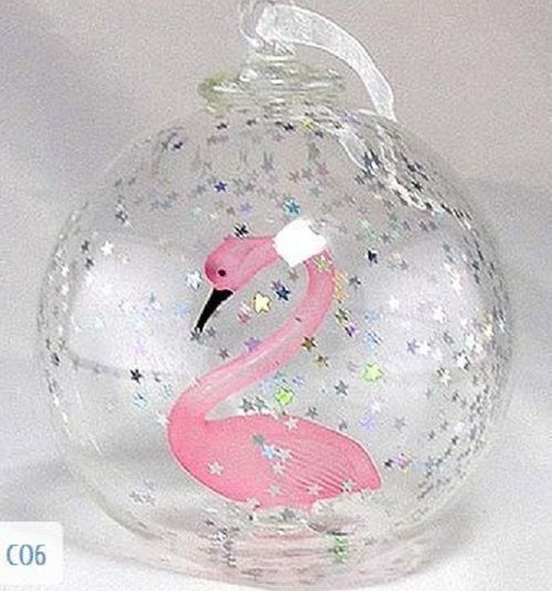 On Sale Today! Flamingo Hand Blown Christmas Ornament . Available at GiftedParrot.com